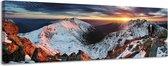 Zonsondergang in de bergen - Canvas Schilderij Panorama 158 x 46 cm