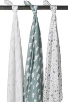 Meyco 3-pack hydrofiele swaddles - Feathers-Clouds-Dots stone green/wit - 120 x 120 cm