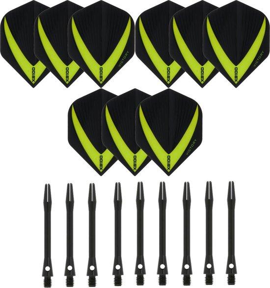 3 sets (9 stuks) Super Sterke – Groen - Vista-X – darts flights – inclusief 3 sets (9 stuks) - medium - Aluminium - zwart - darts shafts