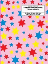 Colored Stars Pink Composition Notebook, Wide Ruled