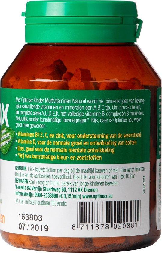 Optimax Kinder Multivitaminen vanaf 1 jaar Voedingssupplement - 100 kauwtableten