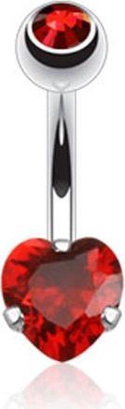 Navelpiercing steentje hart rood �LMPiercings - LMPiercings NL