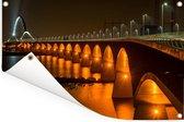 Verlichting van de Waalbrug in de Nederlandse stad Nijmegen Tuinposter 180x120 cm - Tuindoek / Buitencanvas / Schilderijen voor buiten (tuin decoratie) XXL / Groot formaat!