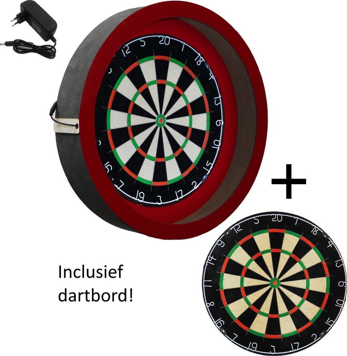Dragon darts - dartbord verlichting - incl. dartbord - Sorpresa PRO - Rood - dartbord berscherm ring - dartbord