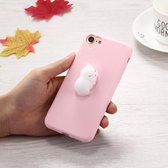Let op type!! For iPhone 6 Plus & 6s Plus 3D White Cat Pattern Squeeze Relief Squishy Dropproof Protective Back Cover Case