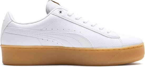 Puma Vikky Platform Sneakers - Maat 39 - Vrouwen - wit/bruin