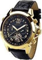 Calvaneo 1583 Calvaneo Astonia Black Diamond Gold - Horloge - 46 mm - Automatisch uurwerk