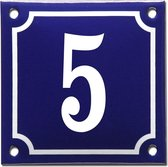 Emaille huisnummer blauw/wit nr. 5