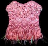 Roze Schouder Tasje Pailletten, Roze Tas, String van Kraaltjes 140 cm, Chique Tasje, Handgemaakt Indonesië 15 x 13 cm