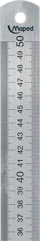 Afbeelding van Stalen 50 cm liniaal met gegraveerde maatverdeling