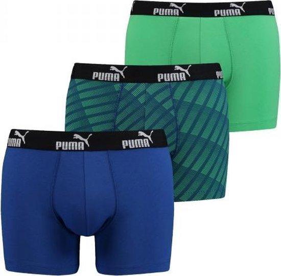 Puma Diagonal Print Boxers Blue/Green 3-pack -S