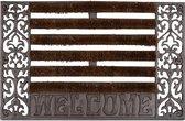 relaxdays deurmat gietijzer borstels, voetmat, voetveger, metaal, welcome antiek D