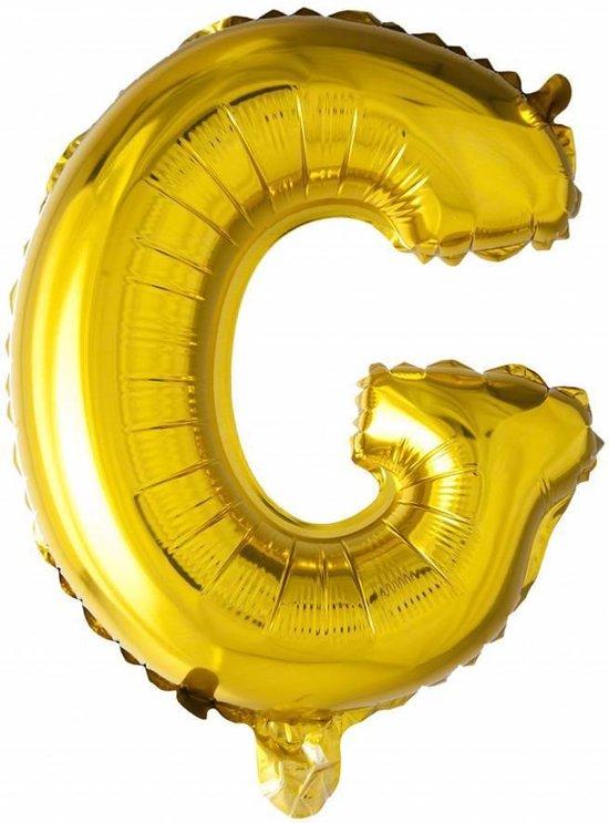 Folie Ballon Letter G Goud 41cm met rietje