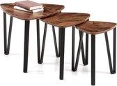 Bijzettafeltje Set van 3 geschikt voor Salon en Slaapkamer - Koffietafeltje Vintage Look - Maximaal 58,6 x 45cm - Zwart en Vintage Bruin