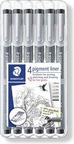 STAEDTLER Pigment liner fineliner - box 6 st (4 + 2)