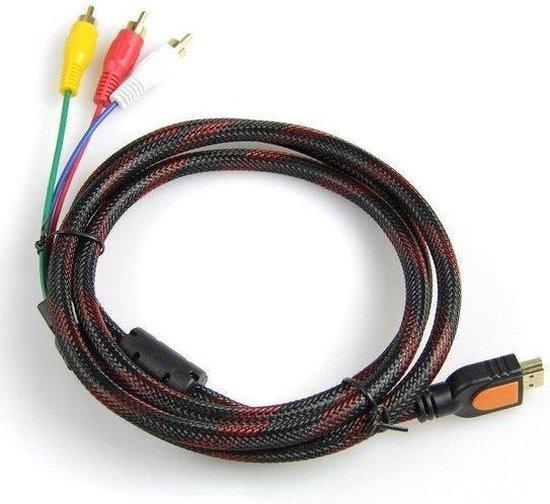 HDMI naar RCA kabel voor het overdragen van signalen van HDMI naar RCA (1,5 mtr). Vergulde connectoren /1080p Full HD