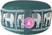 Meditatiekussen groen olifanten opdruk - Groen - 33x17 - Boekweit - Katoen
