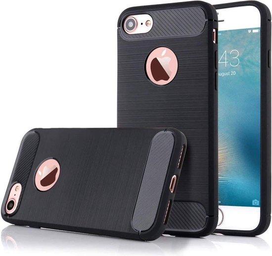 Geborsteld Hoesje voor Apple iPhone 6s Plus / 6 Plus Soft TPU Gel Siliconen Case Zwart iCall