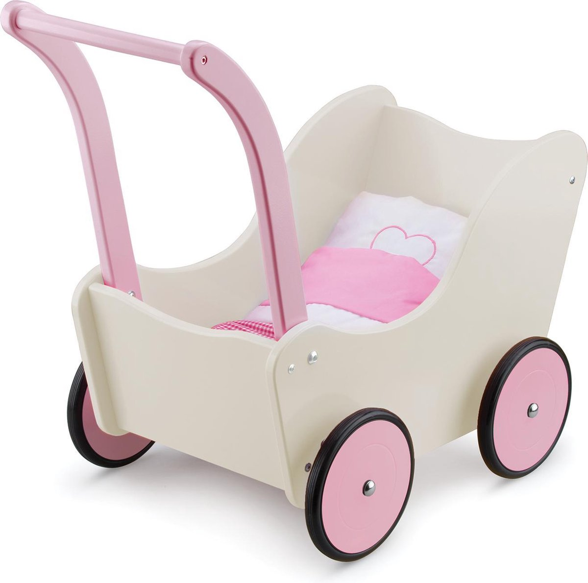 New Classic Toys Houten Poppenwagen met Beddengoed - Cr me