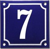 Emaille huisnummer blauw/wit nr. 7