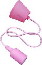 LED lamp DIY   pendel hanglamp - strijkijzer snoer   E27 siliconen fitting   roze