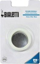 Bialetti RVS filterplaatje + rubber ringen - 4 kops