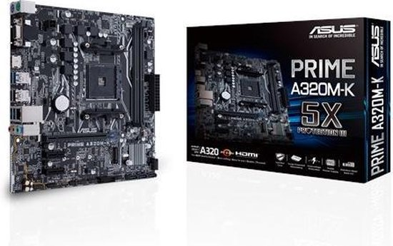 ASUS MB PRIME A320M-K moederbord Socket AM4 Micro ATX AMD A320
