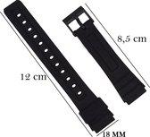 Casio Horlogeband Met gladde Oppervlak - 18mm Aanzetmaat - Zwart