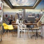 Fotobehang New York City Skyline 3D Skylight Window View | VEXXXL - 416cm x 254cm | 130gr/m2 Vlies