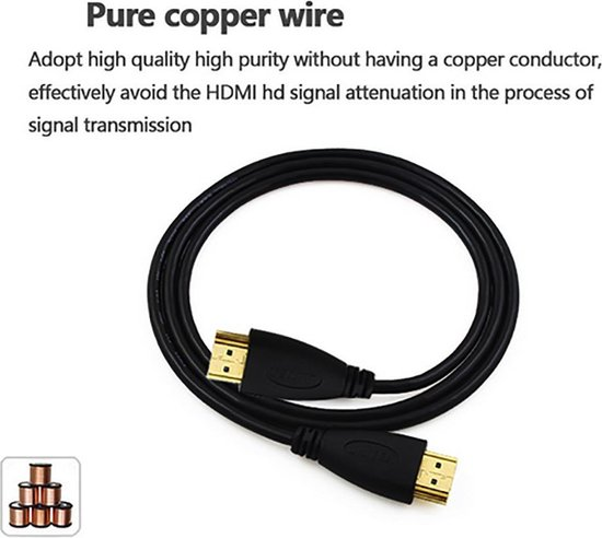 HDMI kabel 100cm 1 meter Gold Plated High Speed male-male / 1080P 3D support - HaverCo