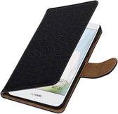 Wicked Narwal | Croco bookstyle / book case/ wallet case Hoes voor Huawei Nova Zwart