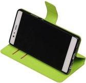Wicked Narwal | Cross Pattern TPU bookstyle / book case/ wallet case voor Huawei P9 Groen