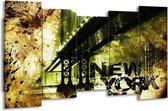 Canvas schilderij New York | Geel, Zwart, Bruin | 150x80cm 5Luik