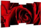 Canvas schilderij Roos | Rood, Zwart | 150x80cm 5Luik