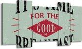 Schilderij | Canvas Schilderij Tekst | Groen, Rood, Zwart | 120x65cm 5Luik | Foto print op Canvas