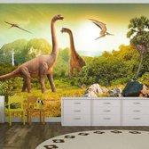 Fotobehang - Dinosaurus , beige groen, kinderkamer