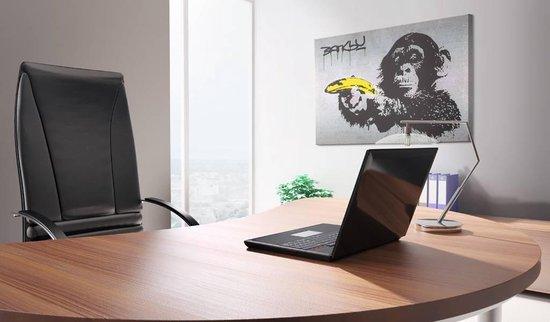 Schilderij - Banksy - Stop of de aap zal schieten  , wanddecoratie , premium print op canvas - karo-art