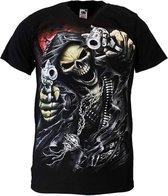 Reaper Skull T-Shirt 'Two Guns' Zwart/Rood