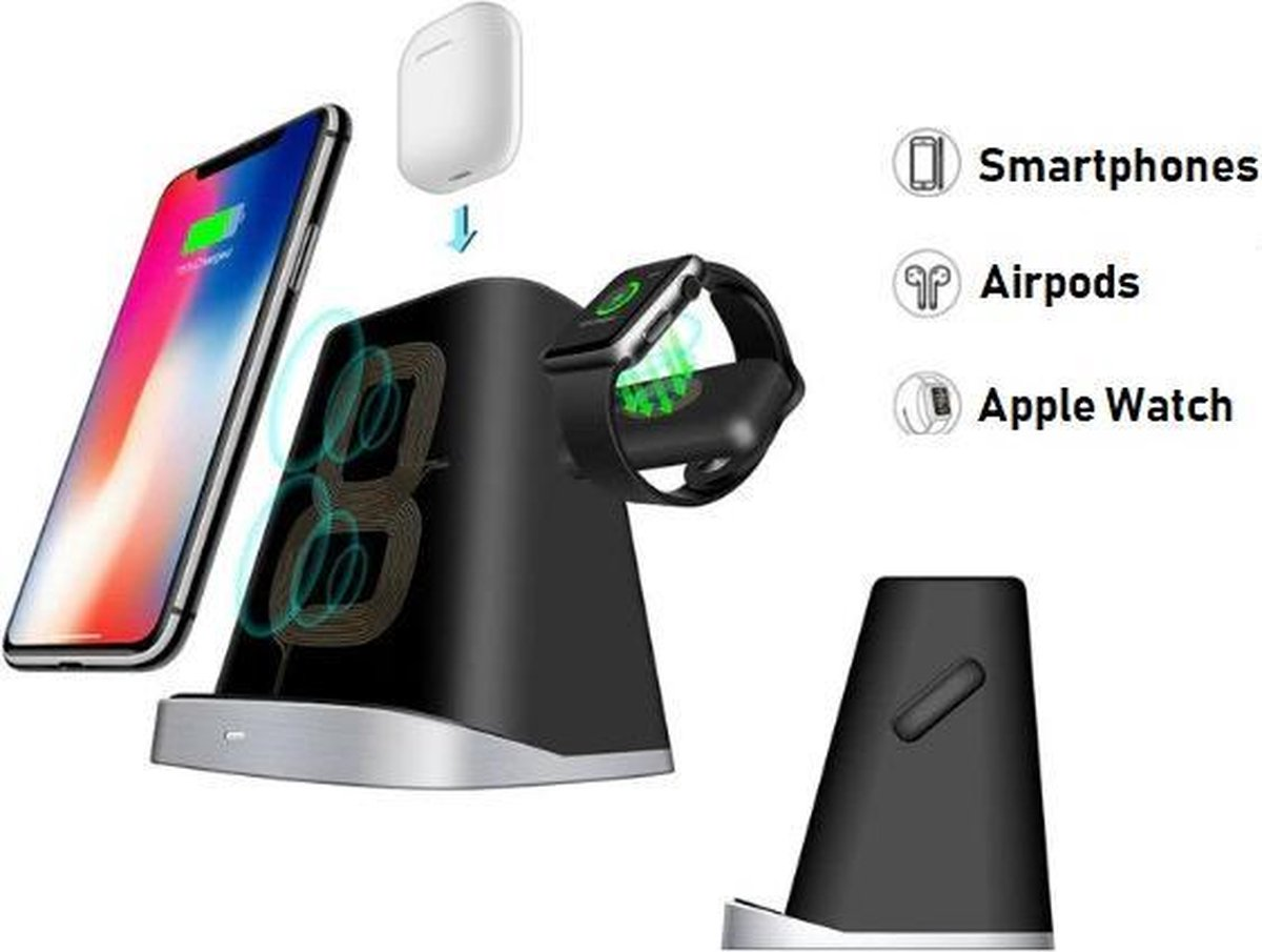 DrPhone LEVEL Oplaadstation iPhone - 3 in 1 Docking Station Apple - Snelle Draadloze Oplader iPhone / iWatch / AirPods - Fast Charger - Wireless