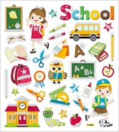 Fancy glitter stickers. school. 15x16.5 cm. 1 vel