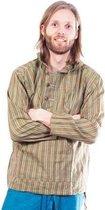 Katoenen Shirt Olijf Groen Gestreept - Nepal - Patipada - XL
