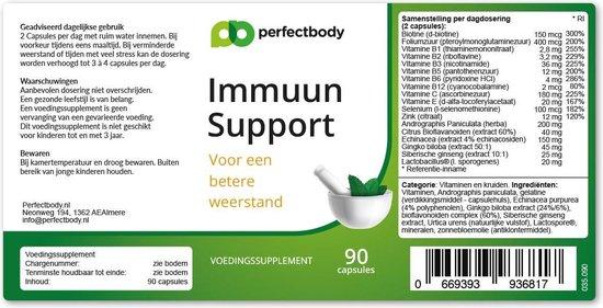 Immuun Support - 90 Capsules - PerfectBody.nl