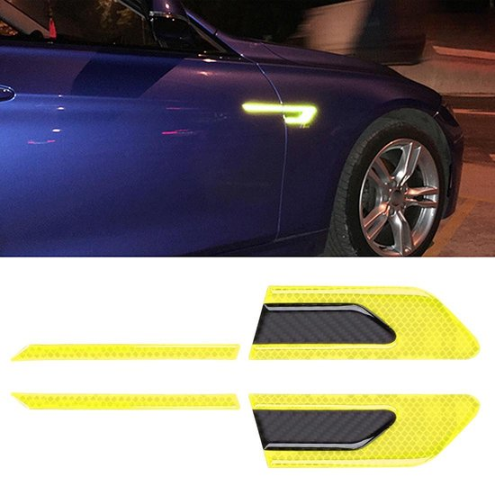 2 STKS Koolstofvezel Auto-Styling Fender Reflecterende Bumper Decoratieve Strip, Externe Reflectie + Carbon Binnenzijde (Lichtgeel)