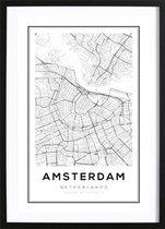 Amsterdam Kaart Poster (29,7x42cm) - Steden - Poster - Zwart Wit - Print - Wallified