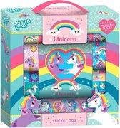 Unicorn stickerbox 12rolls + boekje - meer dan 1000 stickers in gift box  21 x 21 cm met handvat