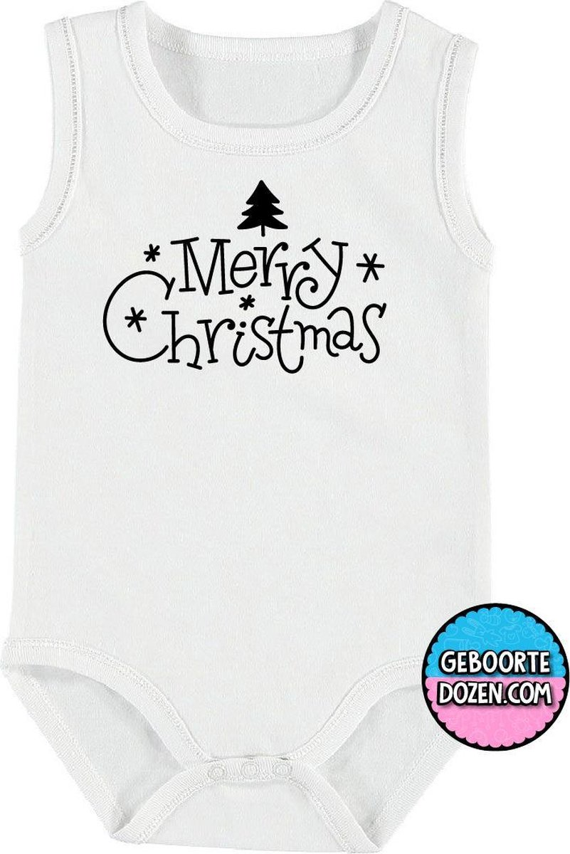 Baby rompertjes - Merry Christmas - maat 74/80 - kap mouwen - baby - baby kleding jongens - baby kleding meisje - rompertjes baby - rompertjes baby met tekst - kraamcadeau meisje - kraamcadeau jongen - zwanger - kerst - stuks 1 - wit