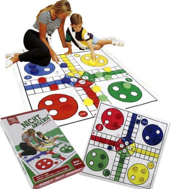 Afbeelding van het spel speelmat Ludo met pionnen en dobbelsteen