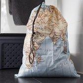 Kikkerland Waszak voor op reis - Wereldkaart print - Voor je vuile was - Laundry bag - Travel accessoire - 40x55 cm