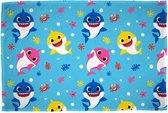 Zachte fleece deken van Baby Shark, blauw met gekleurde haaien