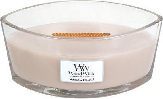 Woodwick Heartwick Flame Ellipse Geurkaars - Vanilla & Sea Salt